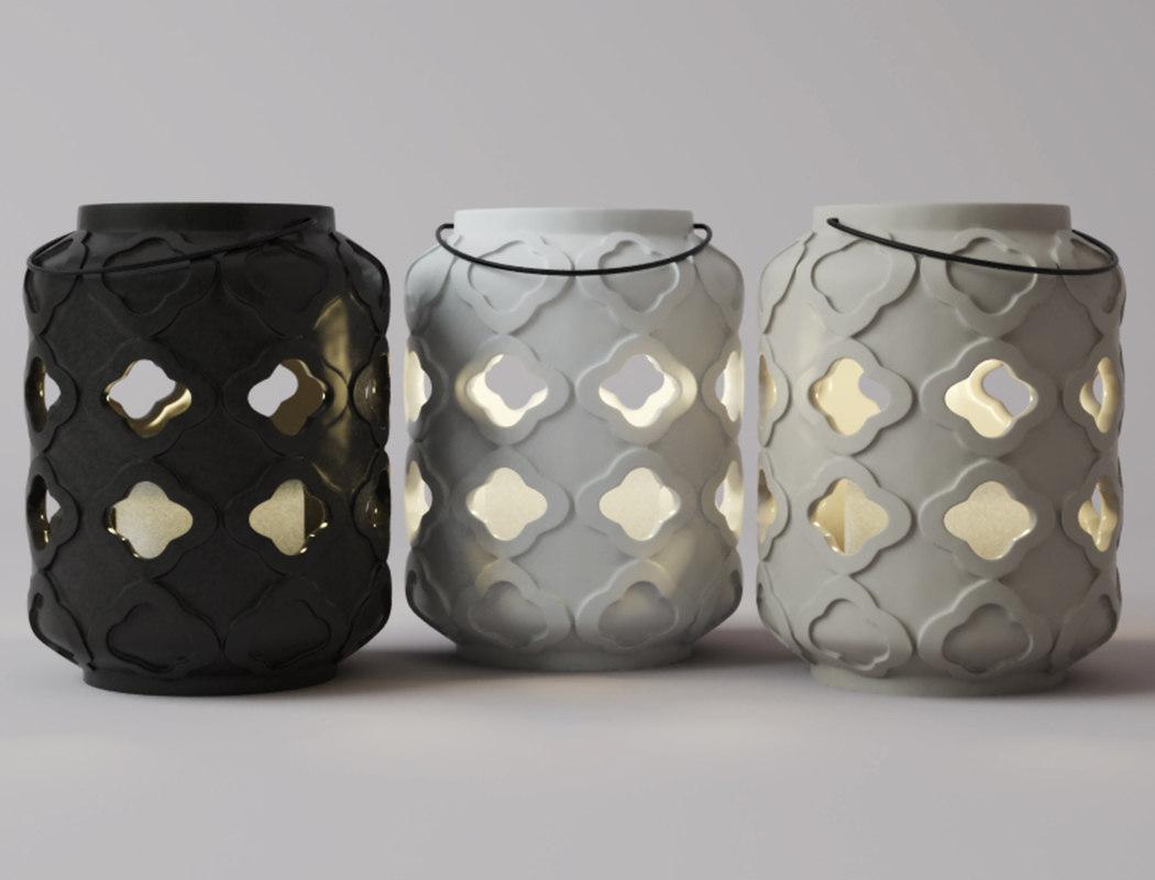 ceramic lantern set 3D