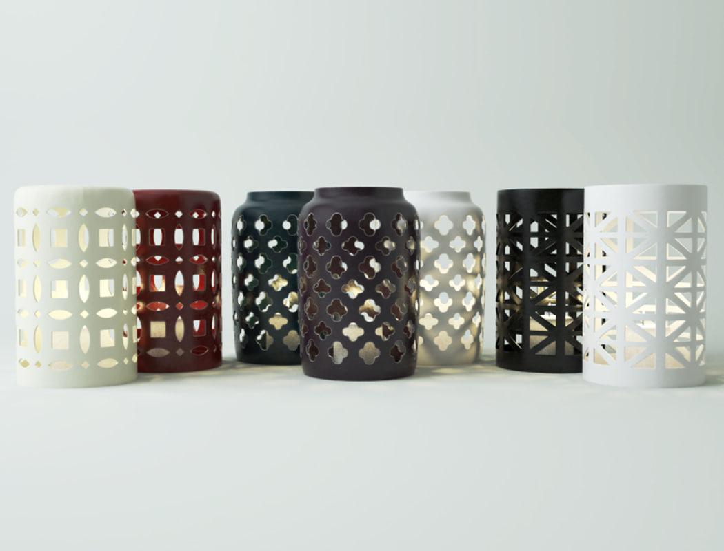 3D ceramic lanterns