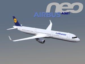 3D airbus a321neo lufthansa model