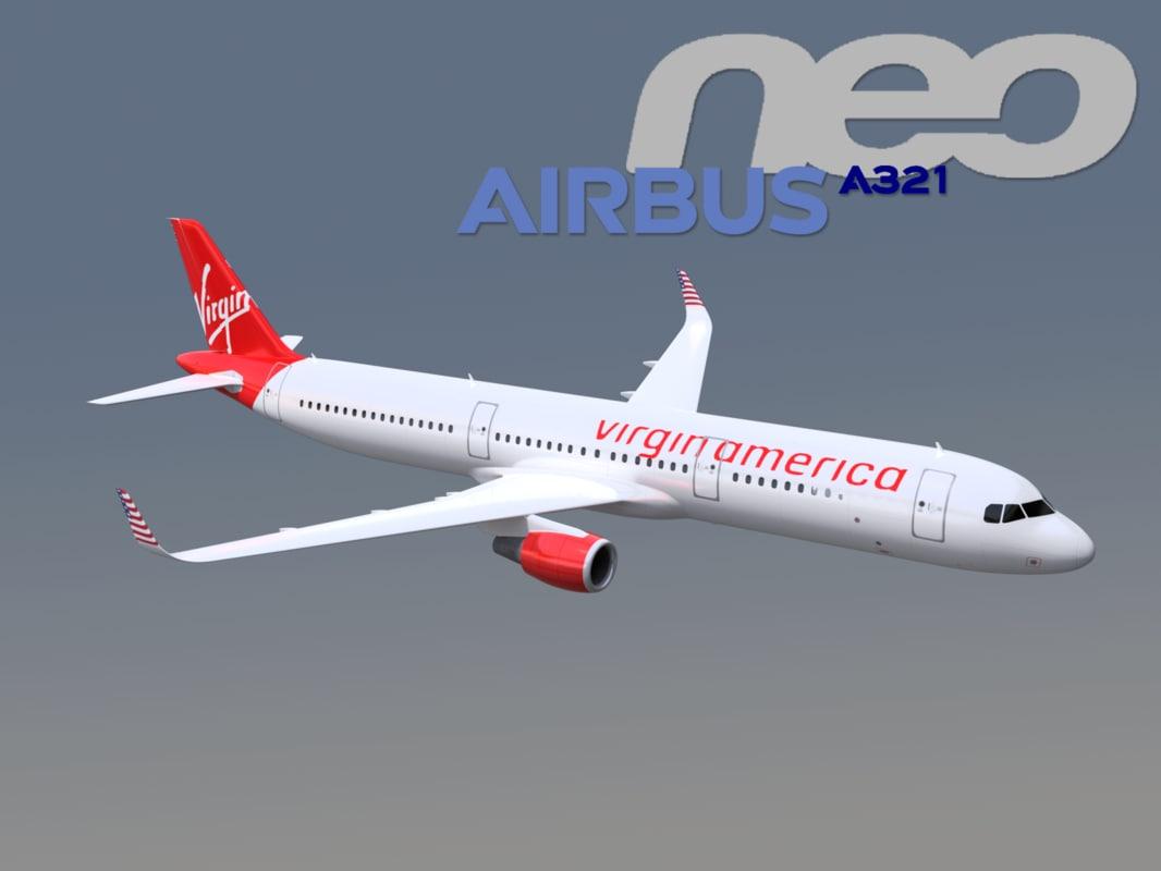 airbus a321neo virgin 3D model