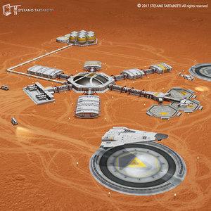 sci-fi moon mars base 3D model