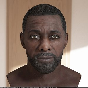idris elba head v2 3D