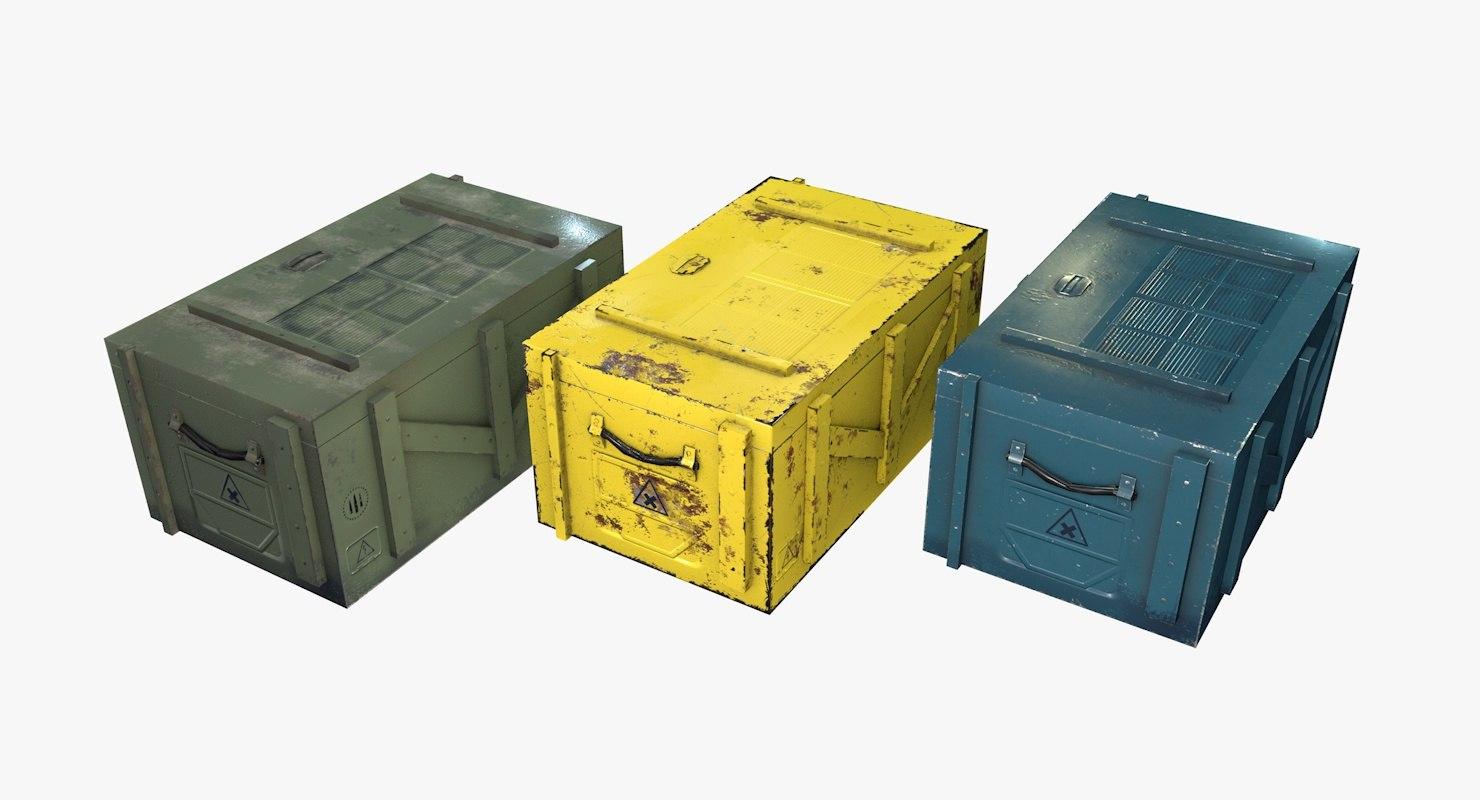 sci-fi weapon crates 3D model