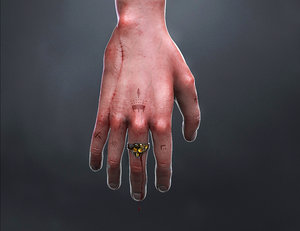 hand realistic bloody 3D