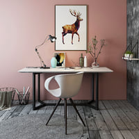 Nordic simple office table and chair scene