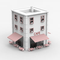 Minimal Building with Cafe shop
