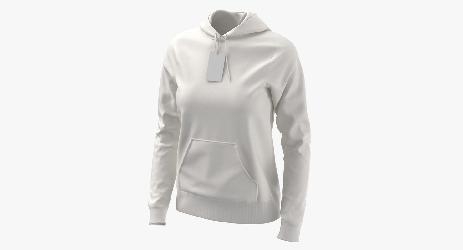 female fitted hoodie body 3D model