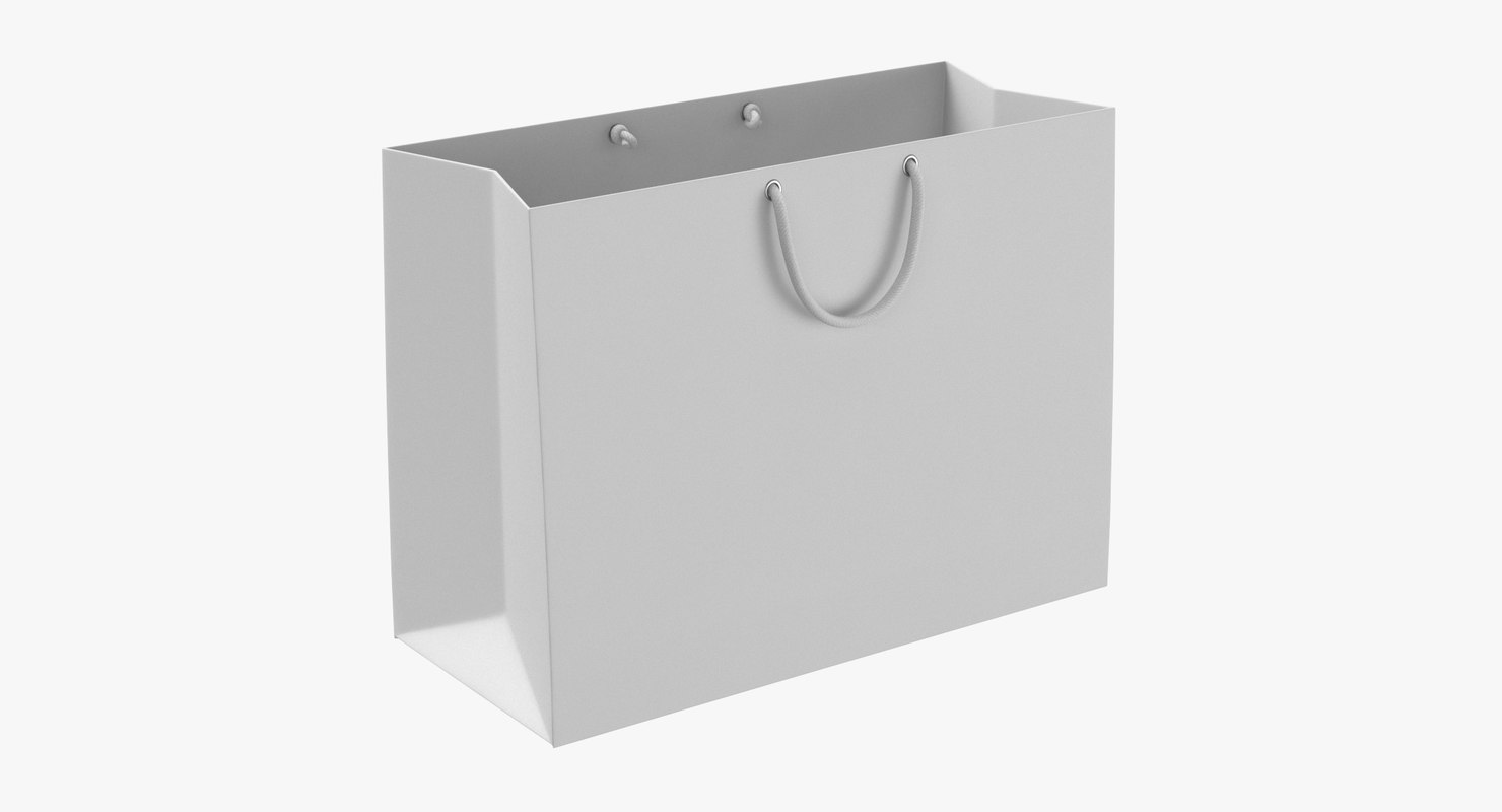 3D model paper shopping bag string