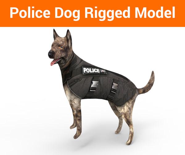 police german shepherd dog rigged model