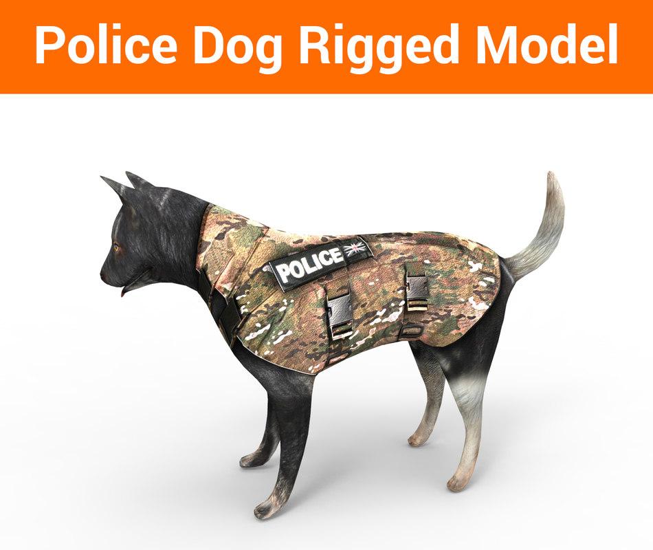 3D police german shepherd dog rigged model