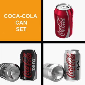 3D coca-cola set coca cola model
