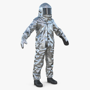 3D firefighter wearing aluminized chemical model