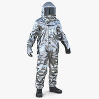 3D model firefighter wearing aluminium suit