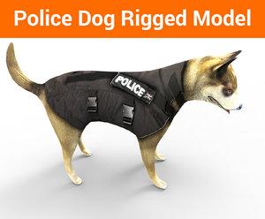 3D model police german shepherd dog rigged