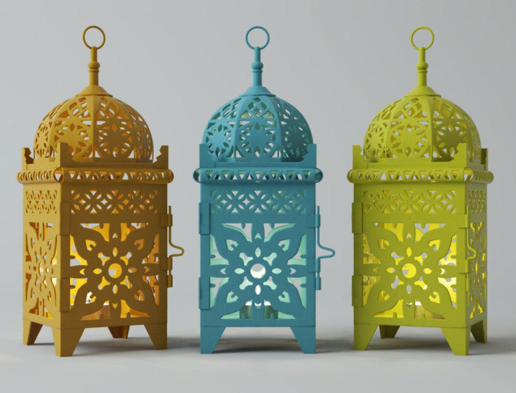moroccan lantern set 3D model