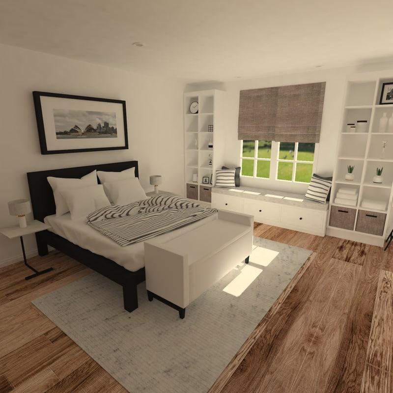 3D scene interior scandinavian bedroom furniture