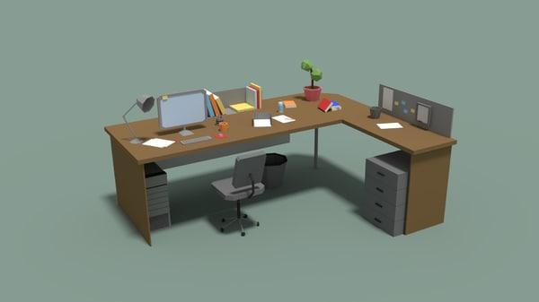 cartoony office desk 3D model