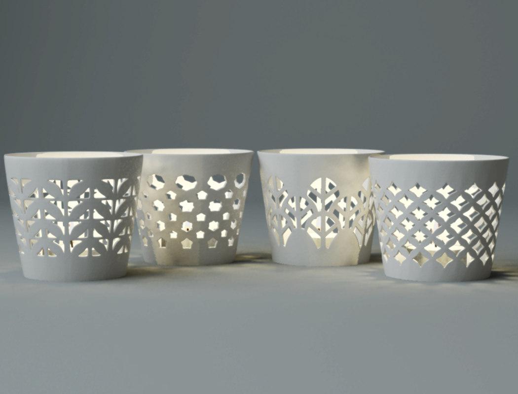 white candle holder set 3D