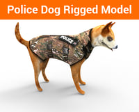 3D police german shepherd dog rigged