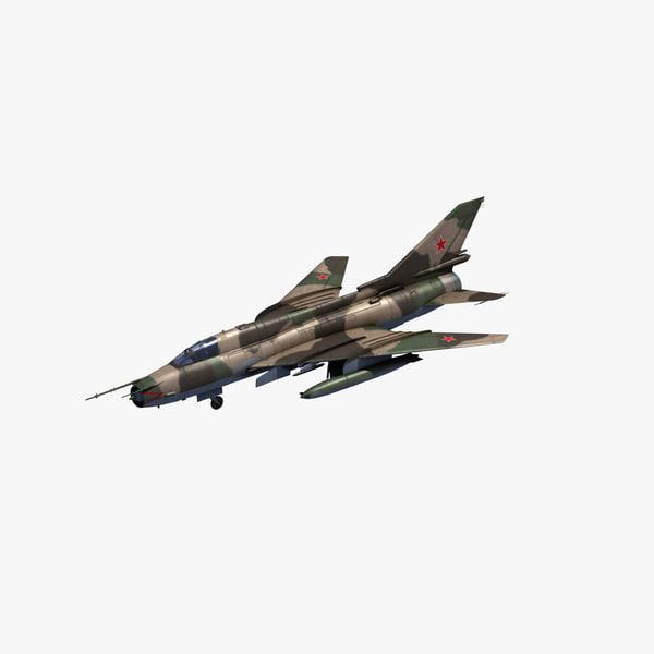 3D su-22 fitter strike aircraft model