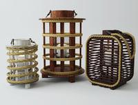 wood rope lanterns 3D model