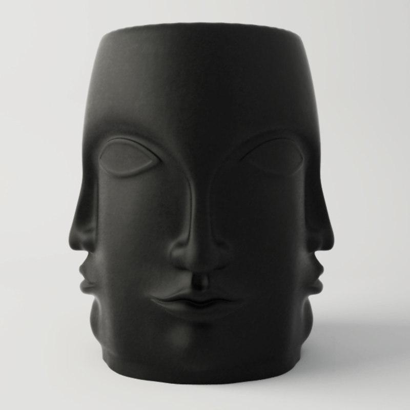 3D black carved faces garden model
