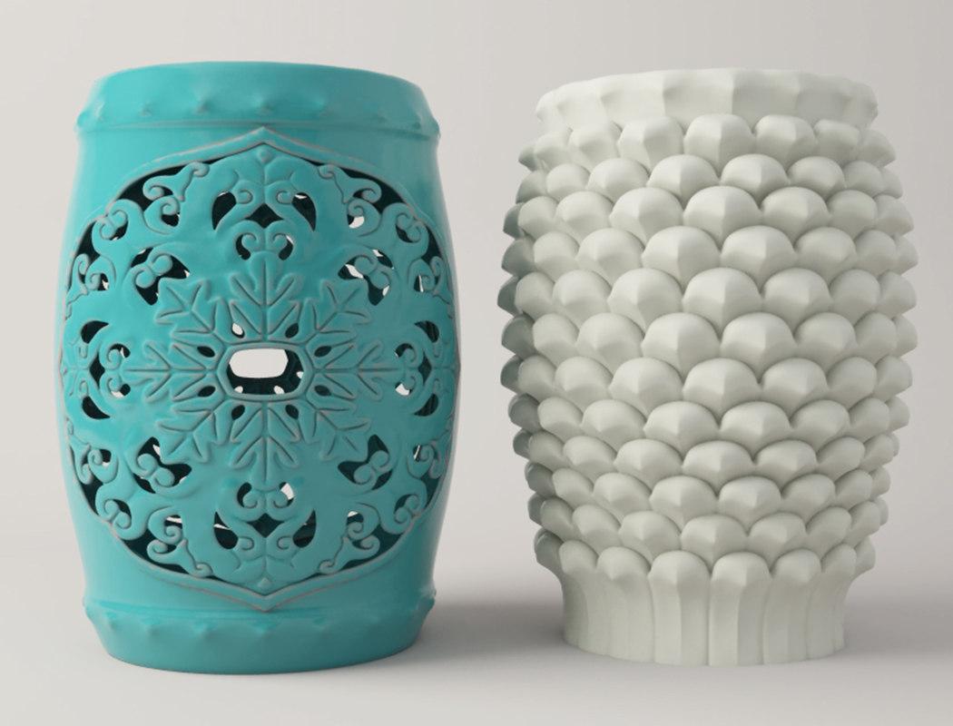 3D ceramic stools