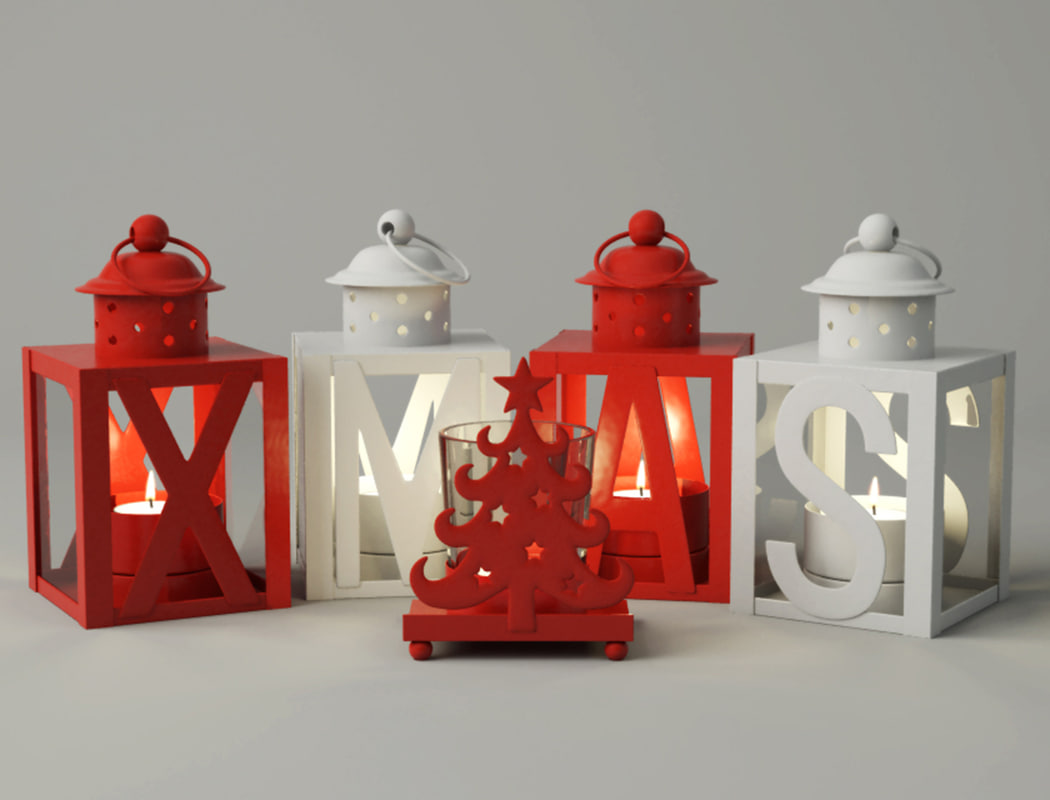 3D christmas lanterns tealight zara