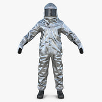 3D aluminized chemical protective suit model