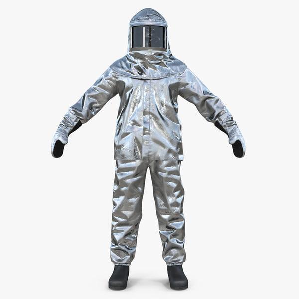 3D aluminized chemical protective suit model
