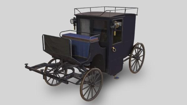 3D brougham carriage pbr
