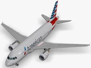 3D airbus a319-112 american airlines