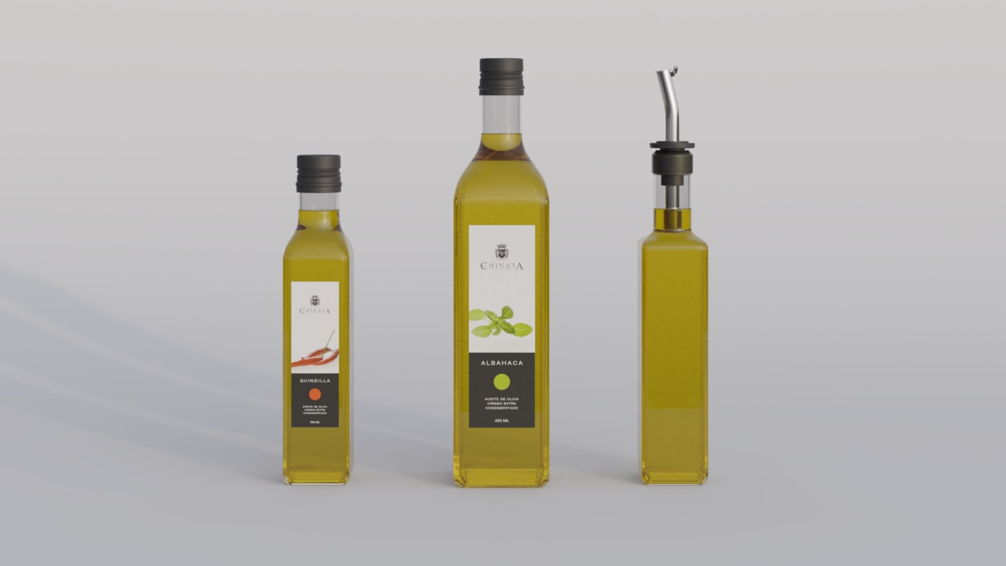 olive bottles 3D