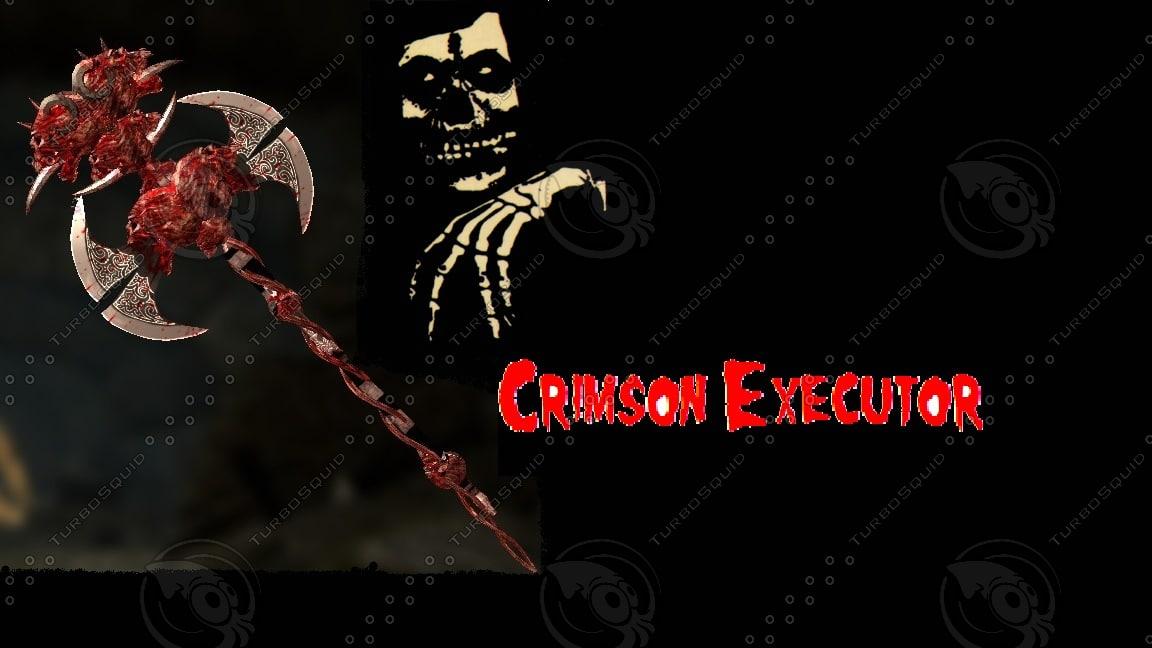 3D model crimson glowing battle axe
