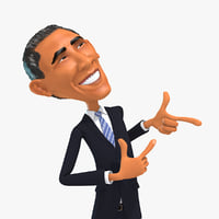 barack obama cartoon 3D