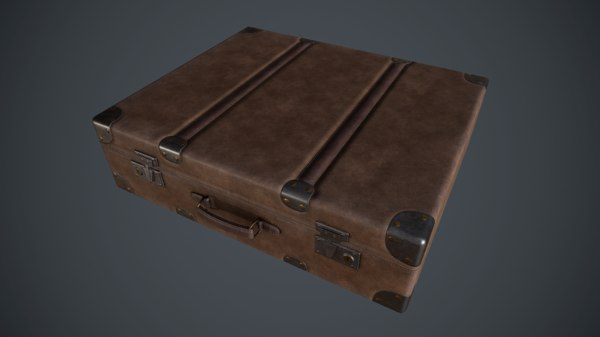 3D pbr leather briefcase model