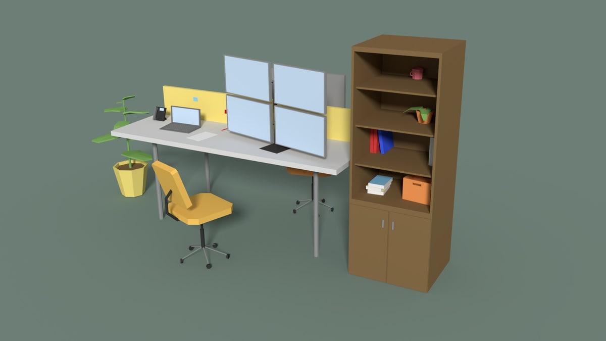 3D cartoony office desk model