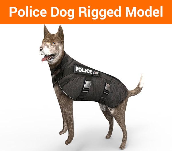 police german shepherd dog rigged 3D model