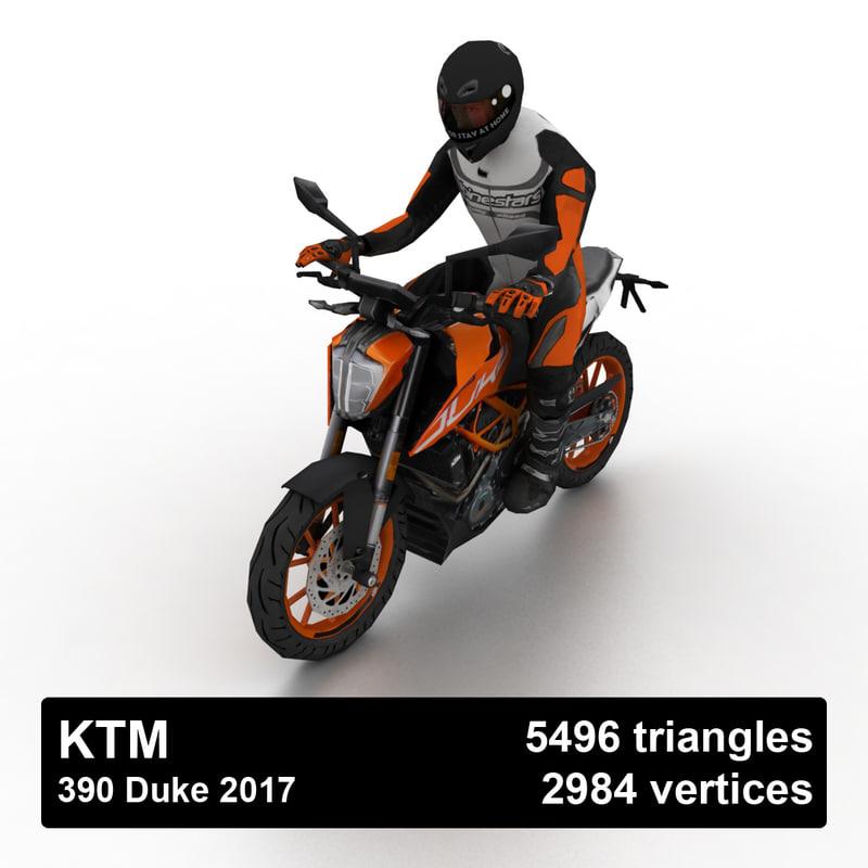 2017 ktm 390 duke 3D model
