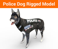 police german shepherd dog rigged model