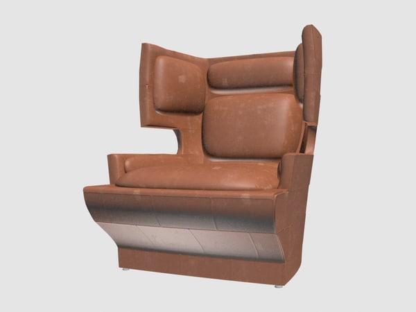 3D wingback lounge chair blackman model