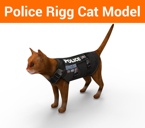 3D police cat rigged