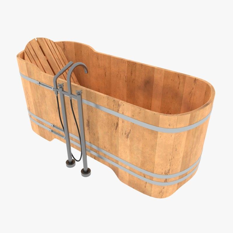 wooden ash wood bath 3D model