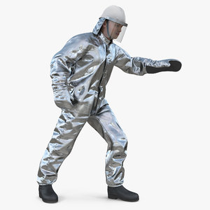 3D firefighter wearing special hazard