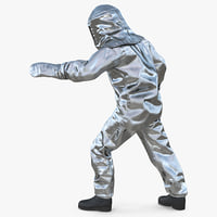 firefighter wearing suit aluminum 3D model