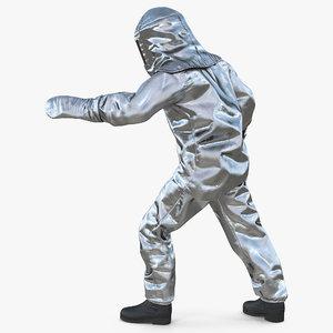 firefighter wearing suit aluminum 3D model
