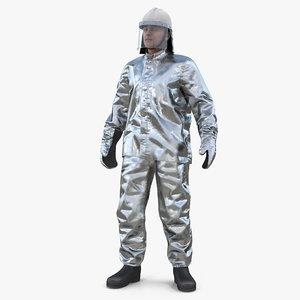 3D model firefighter wearing aluminum resistant