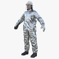 firefighter wearing aluminized proximity 3D model