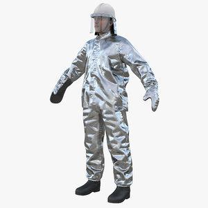 firefighter wearing aluminized proximity 3D model