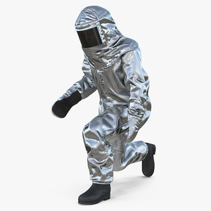 3D firefighter wearing aluminized chemical